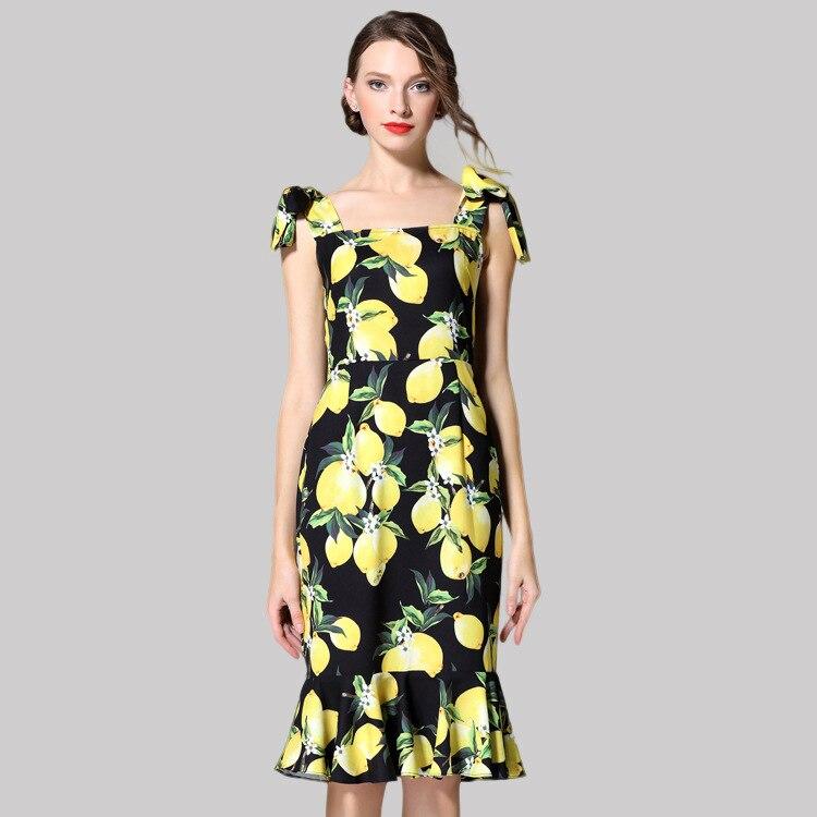 Customize Summer Runway Designer Boutique Dress Women's High Quality Fresh Yellow Lemon Printed Bow Shoulder Strap Mermaid Dress