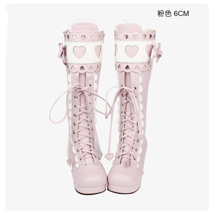 حذاء برنسيس بانك ، كلاسيكي ، ناعم ، لوليتا وأميرة ، مع عقدة فراشة ، دانتيل ، لوليتا ، أحذية عالية pu8166