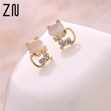 New Fashion Fine Jewelry Super Cute Sweet Fresh Opal Rhinestone Kitty Cat Stud Earrings For Women Gi