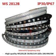 Tira de luces de 5 metros WS2812B a todo Color Symphony 30 60 144 LEDPixel/metro SMD 5050 integrado IC programable direccionable 5V IP67