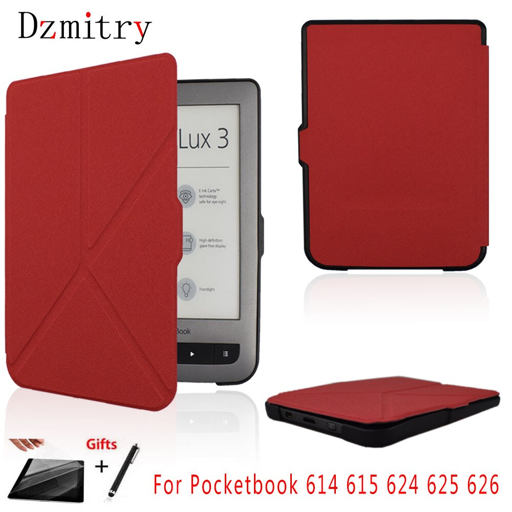 Pocketbook Basic 2 Touch Lux2/3 Folio Flip eBook cubierta caso para Pocketbook 614 615 624 625 626 eReader protección Shell + película + pluma