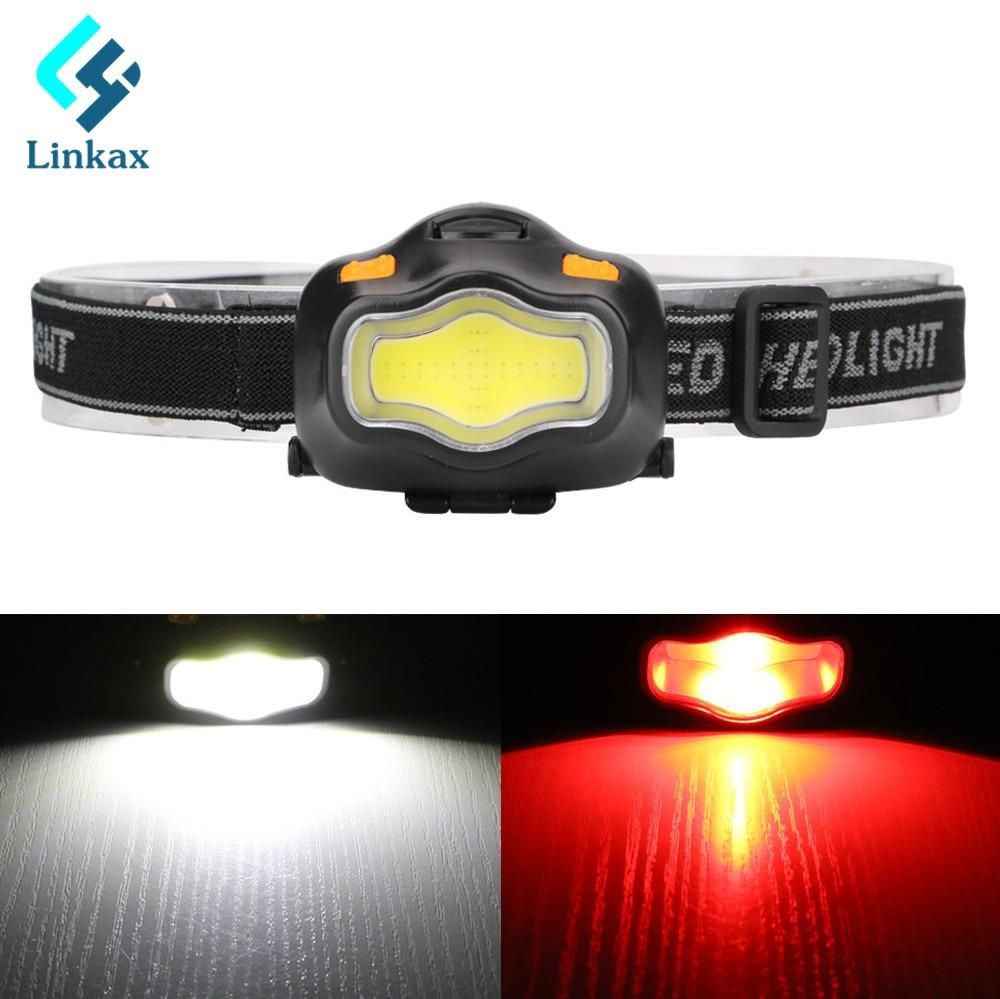 LED Mini Waterproof Headlight Headlamp 3-Modes Light-weight PVC White light /Red Light LED Head Light Head Lamp Torch By 3xAAA