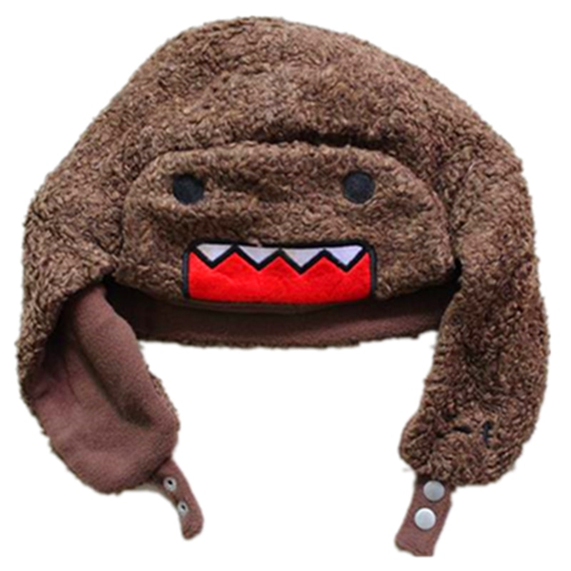 Cartoon Big Mouth DOMO Winter Bomber Hats Ushanka Russian Fur Hat Warm Thickened Ear Flaps Cap For M
