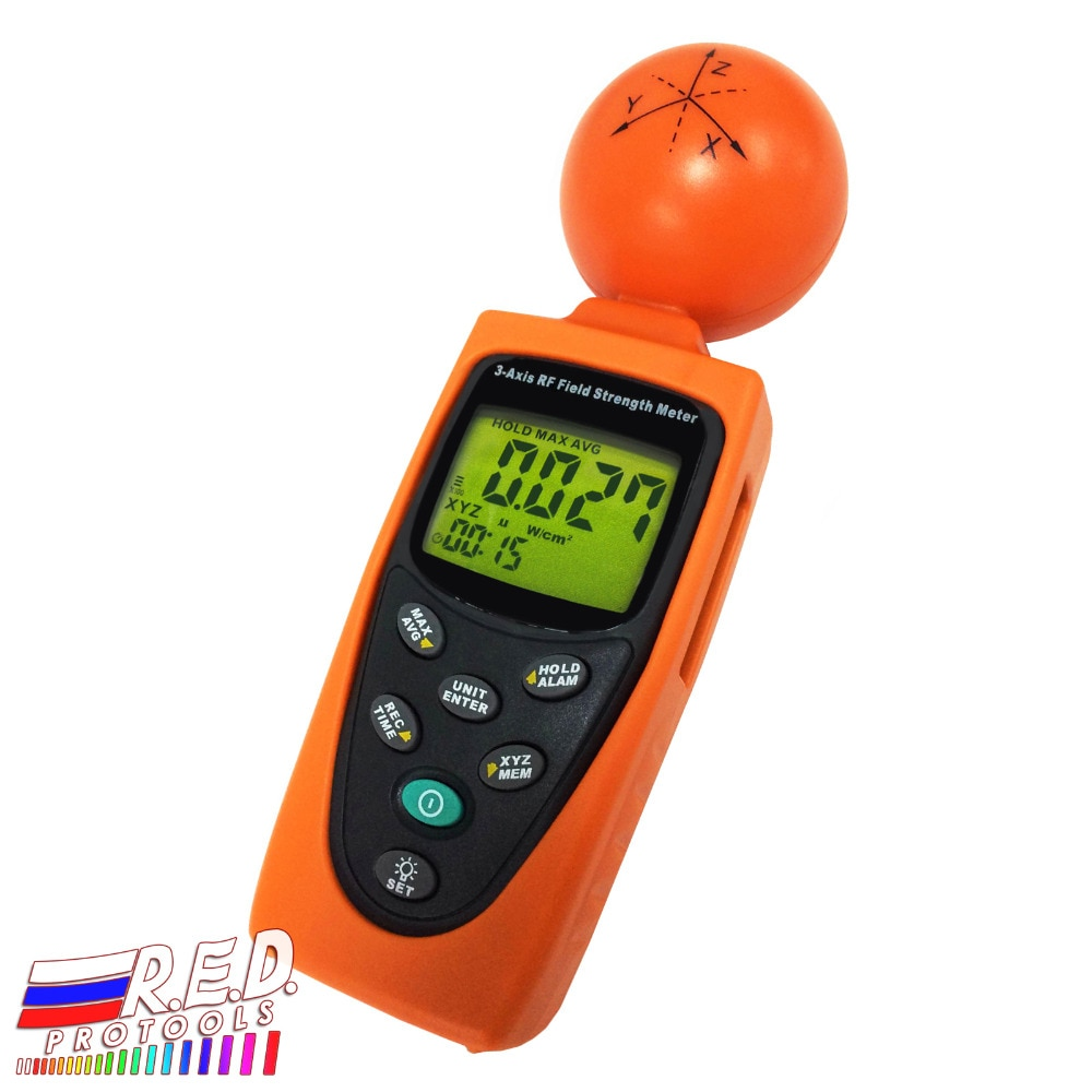 Portable Handheld 3-AXIS EMF RF Digital Radiation ElectroSmog Power Isotropic Meter Tester 38mv ~ 11v/m Range Made in Taiwan
