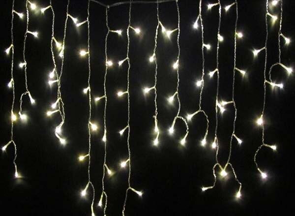 3,5 M 100 LEDs blanco cálido vacaciones Navidad Fiesta de hadas cortina luz LED tira de hielo barras guirnaldas de luces