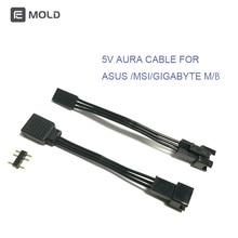 Fancier AURA câble se connecter à la carte mère MSI/ASUS/GIGABYTE 5 v 3pin en-tête, convertir le câble de la carte mère, livraison directe, vente en gros