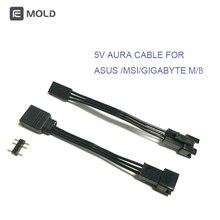 Schicker AURA Kabel verbinden zu MSI/ASUS/GIGABYTE motherbaord 5 v 3pin header, konvertieren mainboard kabel, drop shipping, großhandel