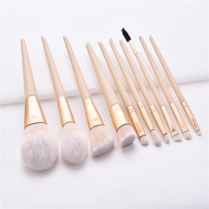 10 unids/set juego De pinceles De maquillaje BASE De colorete corrector sombra De ojos aplicador llama Micro pincel Pinceau Fond De Teint T10167
