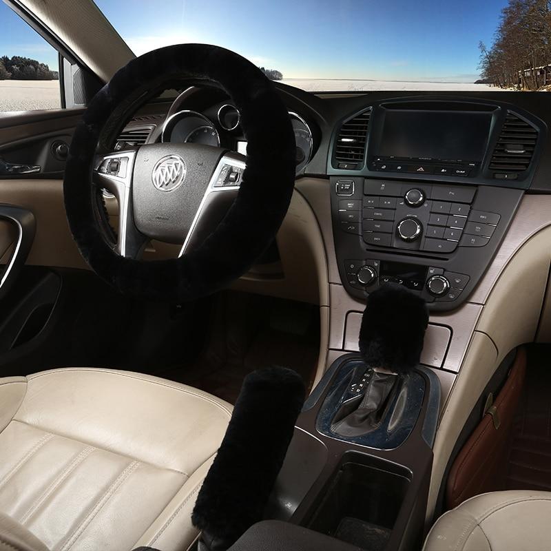 3pcs/set Winter Plush Fur Car Steering Wheel Cover Handbrake Gear Knob Cover Universal Steering Wheel Cover Classical black/red