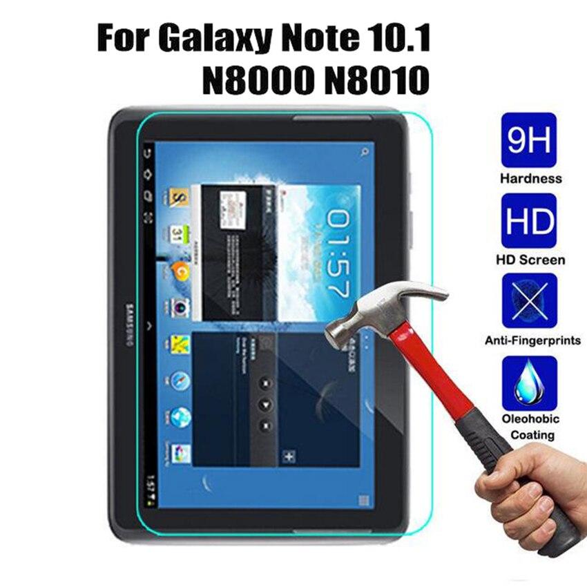 Para samsung galaxy note 10.1 protetor de tela de vidro temperado 9 h película protetora de segurança em n8000 n8005 n8010 GT-N8000 GT-N8005