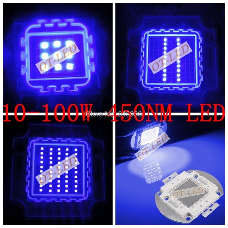 High Quality 10W 20W 30W 50W 100W Royal Blue Color 450NM  High Power LED Lamp Light For Plant Grow Light  Aquarium