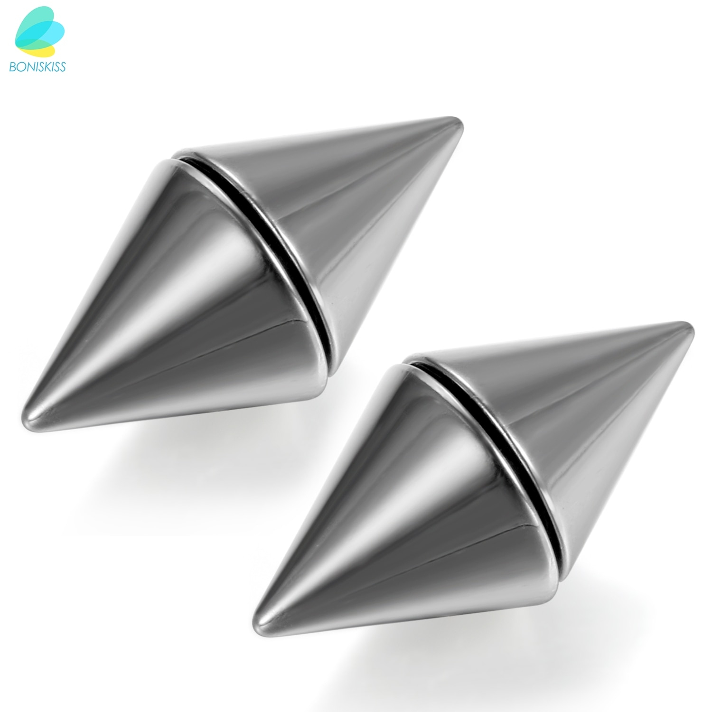 Boniskiss シルバー色のトーン 316L ステンレス男性の磁気なしピアス両面リベット耳チーター
