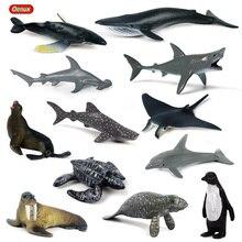 Oenux 12 шт. мини Морская жизнь животные Акула КИТ фигурка пингвина оригинальный миниатюрный морской океан фигурки животных игрушка детский подарок