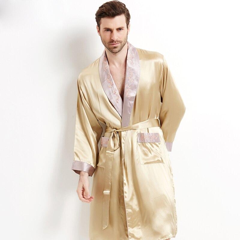 Genuine Silk Sleeping Robes Male Long-Sleeve Bathrobe Shorts Two-Piece Sets Sexy Kimono Silkworm Mens Sleepwear 2508