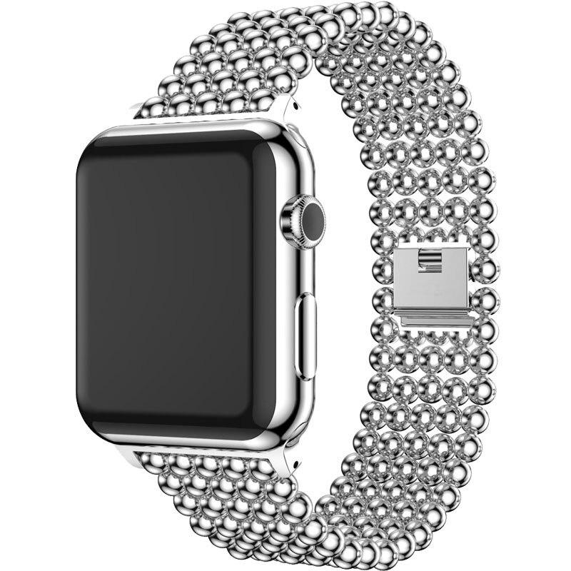 Ремешок для Apple Watch 38 мм 40 мм 42 мм 44 мм модный браслет из нержавеющей стали с бусинами для Iwatch 1 2 3 4 5 ремешок для наручных часов