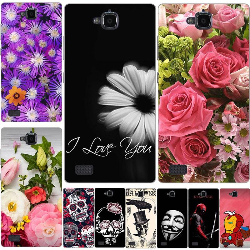Funda para Huawei Honor 3C cubierta H30-U10 plantas de flores hermosas plástico duro impreso dibujos animados lindo gato búho Animal funda para teléfono