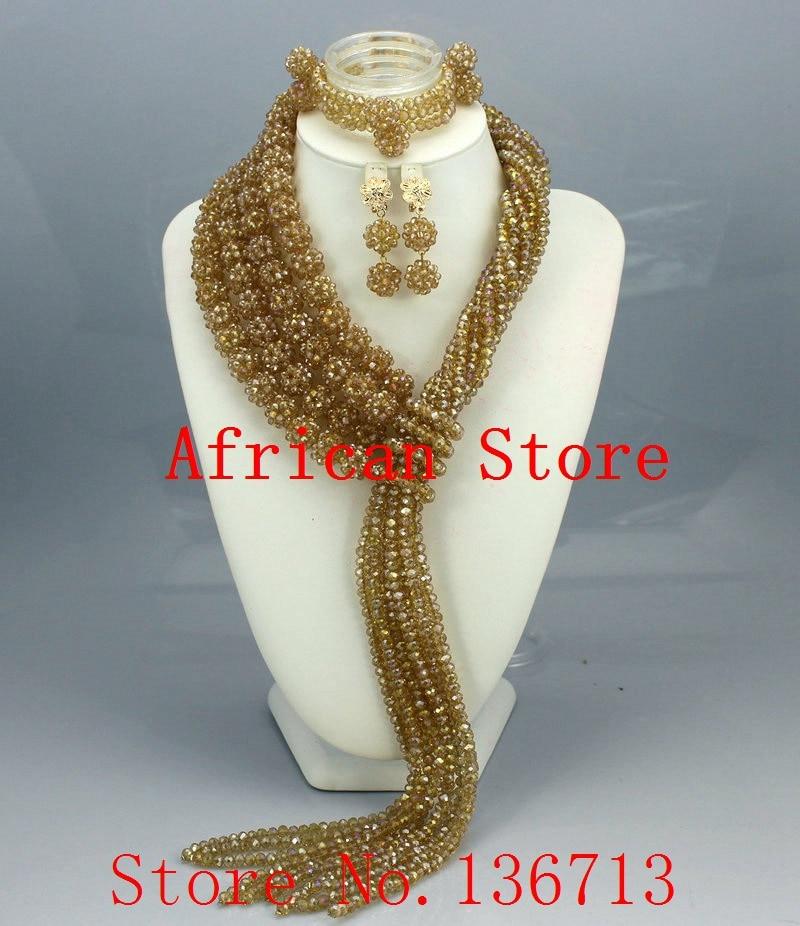 Mujeres fiesta africano cuentas de conjuntos de joyas de cristal Cruz collar brazalete pendientes anillo accesorios de vestido de novia R6110