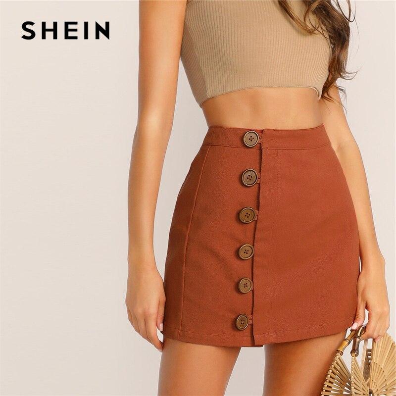 Женская мини-юбка SHEIN, коричневая мини-юбка с высокой талией на пуговицах, в Корейском стиле, на весну-лето 2019