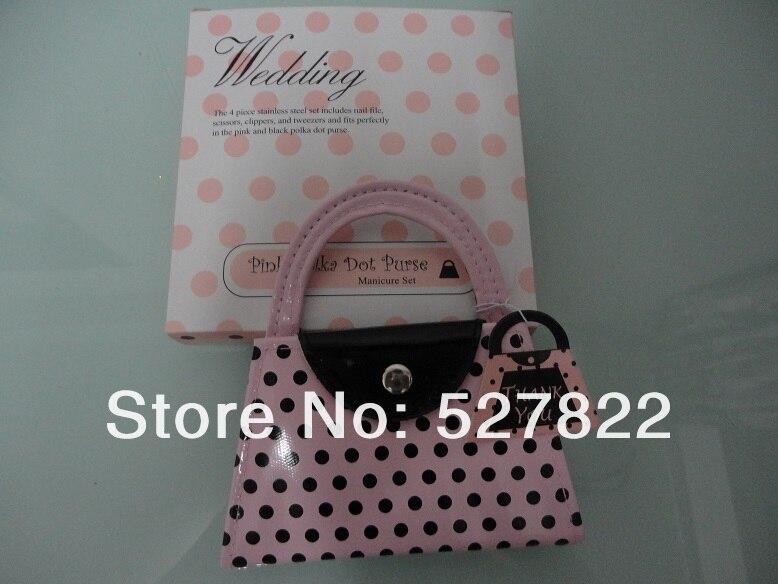2013 nova venda quente 10 set/lote rosa polka bolsa manicure conjunto pedicure, favor do casamento e presente frete grátis