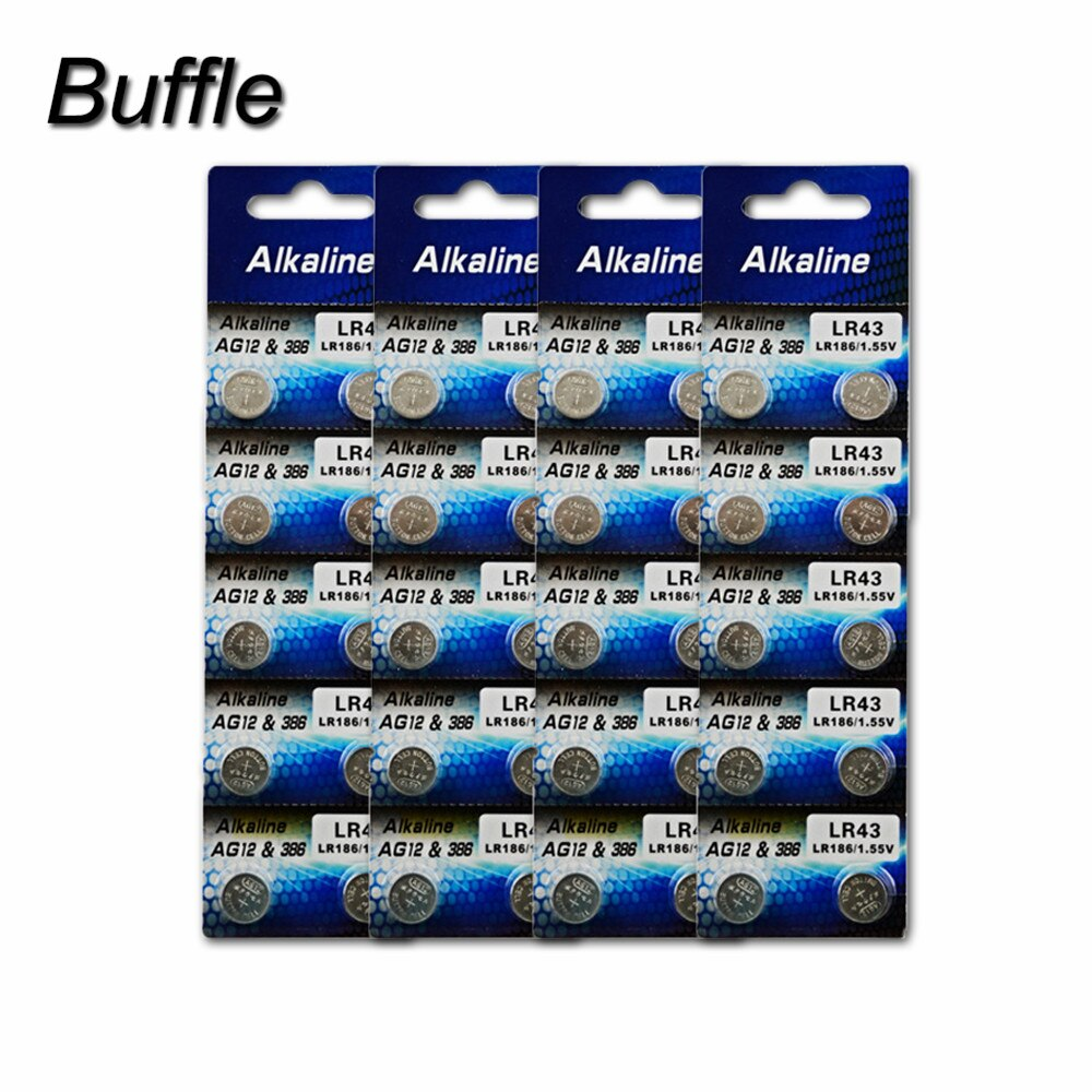 10pcs alkaline battery ag12 1 5v lr43 386 button coin cell watch toys batteries control remote sr43 186 sr1142 lr1142 40x Buffle LR43 AG12 1.55V Electronics Lithium Button Cell Batteries Coin Battery 386A SR43 186 LR1142 for Watches Toys