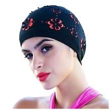 Nouveau femmes rétro été bonnet de bain fleur Floral creux bonnet de bain noir