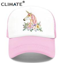 CLIMATE Unicorn Cap for Girls Unicorn Trucker Cap Hat Hip Hop Pink Rose Caps Colorful Mesh Baseball Cap Hat for Women Girl Youth