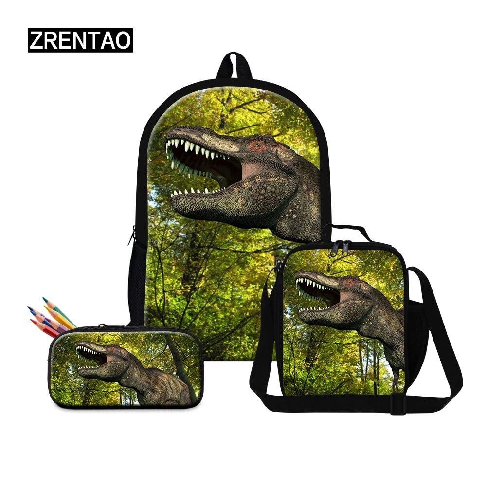 Customized School Backpack Set for Teenage Girls Boys Male Student Kids Casual Bagpack Children Satchel Enfant Dinosaur Printing