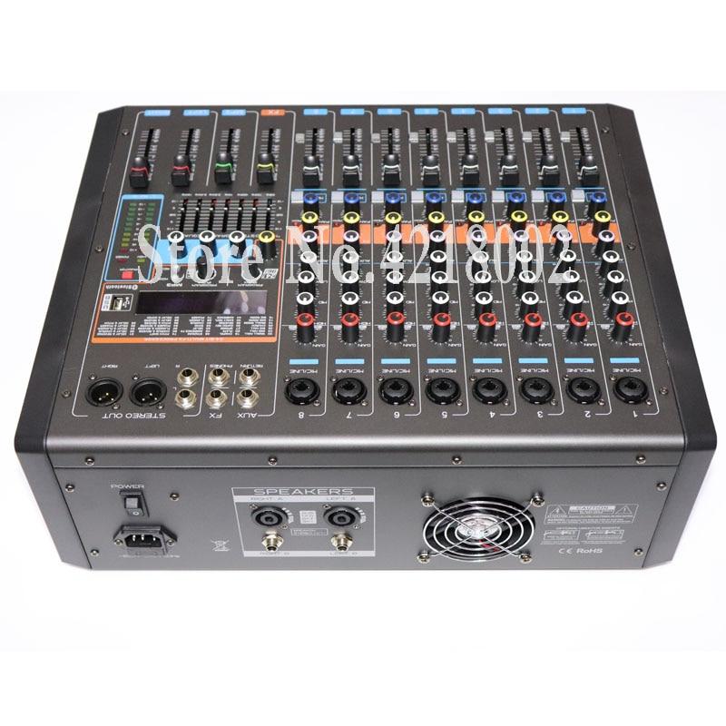 ماكينة مزج مكبر الصوت 8 قنوات بقوة 550 + 550 وات لمرحلة الكاريوكي DJ للزفاف مع 99 نظام ميكرفون USB بلوتوث رقمي