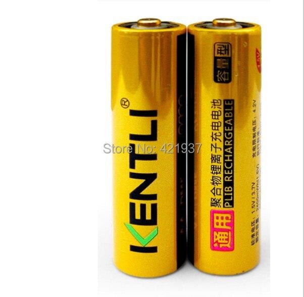 2pcs/lot KENTLI AA Battery Powerful 1.5V AA 2400mWh Lithium Li-ion Li-polymer Rechargeble Battery For Camera KTV Microphone ect.