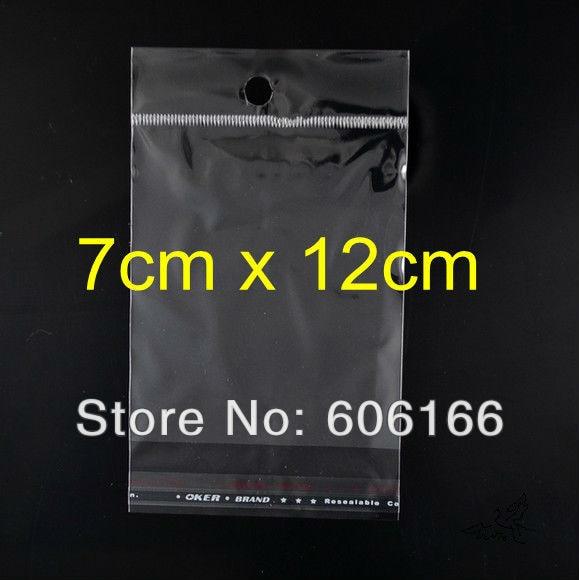 Venta al por mayor 500 unids/lote 7x12 cm agujero colgante claro sello adhesivo de polietileno BOLSA DE OPP bolsas de embalaje de plástico