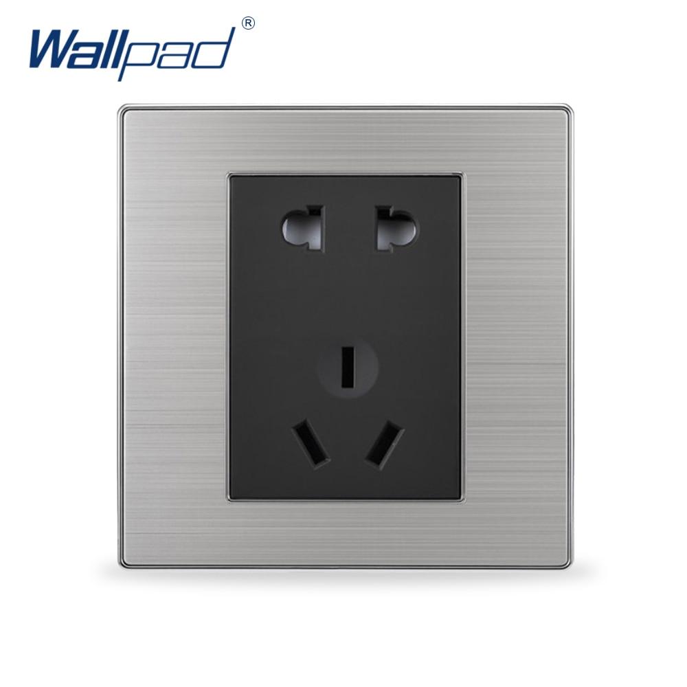 2019 gran oferta 5 pines zócalo de pared de lujo interruptor de luz de pared grandes contactos plateados 10A AC 110-250V