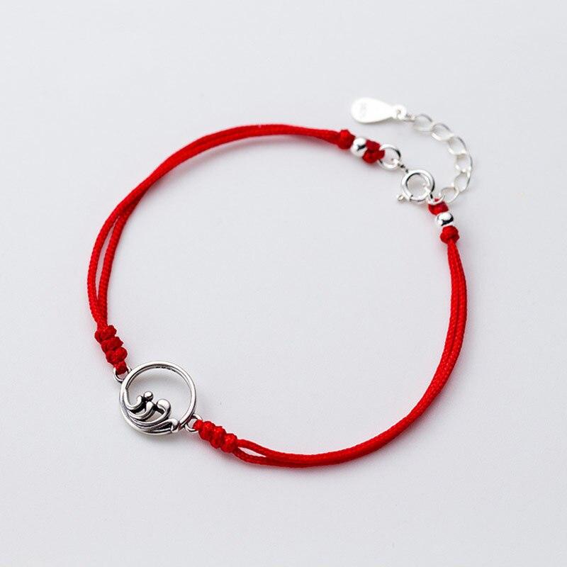 Couple 925 Sterling Silver Bracelet Mountain Range Sea Wave Double layer Handmade String Rope Red Thread Bracelets For Women Men