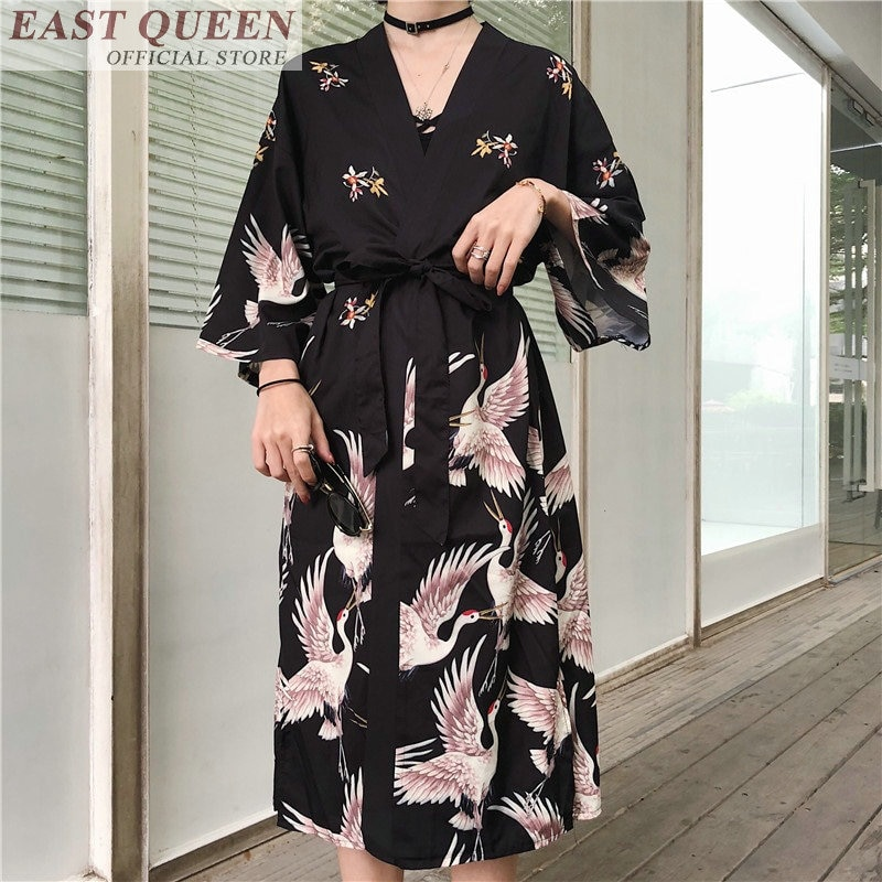 Japanese Kimono Traditional Woman 2021 Long Kimono Cardigan Cosplay Blouse Shirt Yukata Female Japanese Dress Haori Geisha KZ001