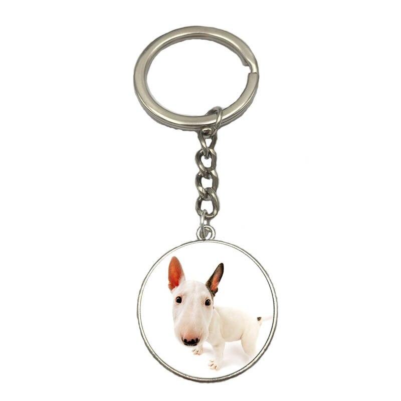 Time Gem кабошон с одной стороны Bull Terri брелок, милый брелок для ключей для женщин, собак, брелок для ключей, брелок для ключей
