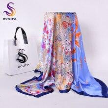 [BYSIFA] dames Plaid carré foulards foulards nouveau Beige blanc et noir bleu hiver lettres foulard en soie Imitation 110*110cm
