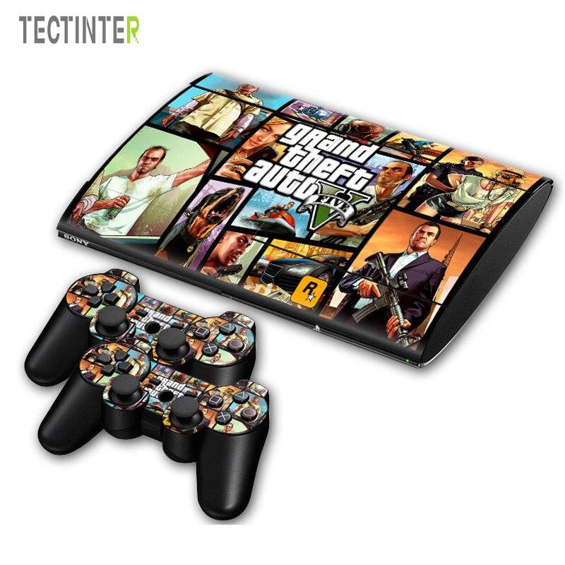 GTA V для PS3 Surper slim 4000 консоль, Виниловая наклейка для кожи + 2 контроллера для Sony PS 3, супер тонкая наклейка для контроллера 4000