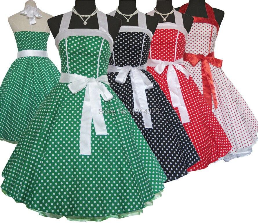 Women Dress Vintage Dresses 50s 60s Style Polka Dot Retro Dress Pin Up Casual Ball Gown Party Dress Vestidos Longos de verao