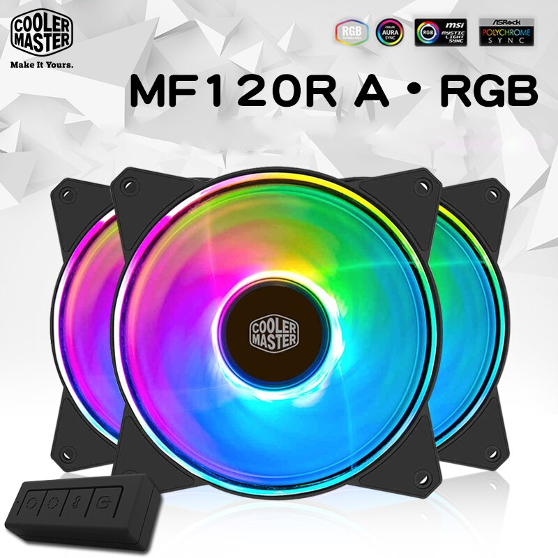 Cooler Master MF120 ARGB 3 шт./лот 12 см RGB чехол для компьютера ПК охлаждающий вентилятор для процессора кулер для процессора радиатор 120 мм ШИМ тихий вен...