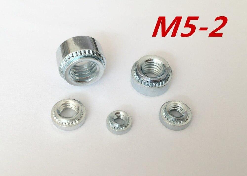 200 unids/lote M5-2 M5 de alta calidad tuerca de prensa tuerca de remache de acero chapada en zinc Tuercas de remache