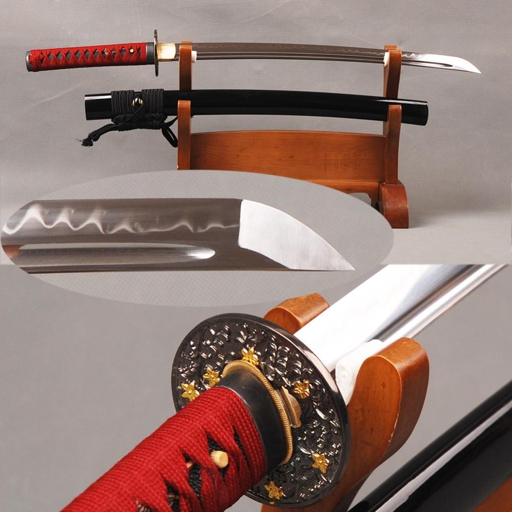 Espada de samurái japonesa Wakizashi forjada a mano, arcilla de acero al carbono Tang T8, hoja afilada templada, decoración de Metal Vintage para el hogar