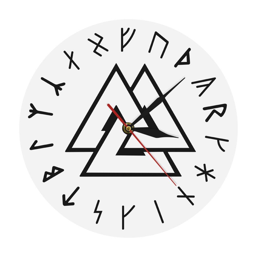 Reloj de pared moderno Valknut Odin vikingo con símbolo vikingo nórdico, brújula, vikingos, runas, Odins, reloj de pared Simple, decoración del hogar
