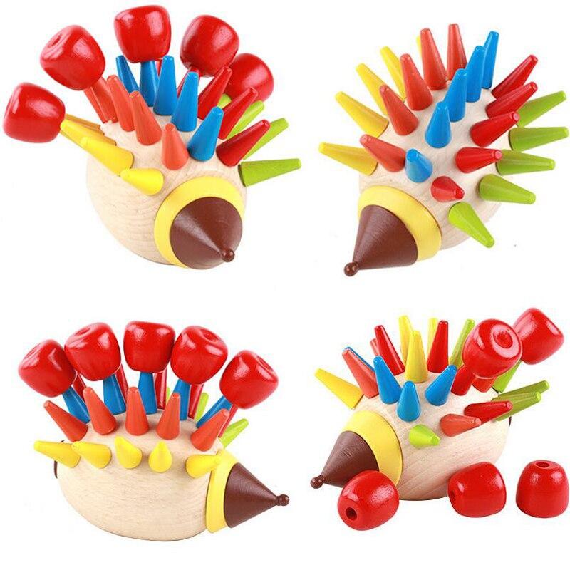DIY bloques magnéticos coloridos de construcción de madera para niños, juguetes educativos para la primera infancia MT45