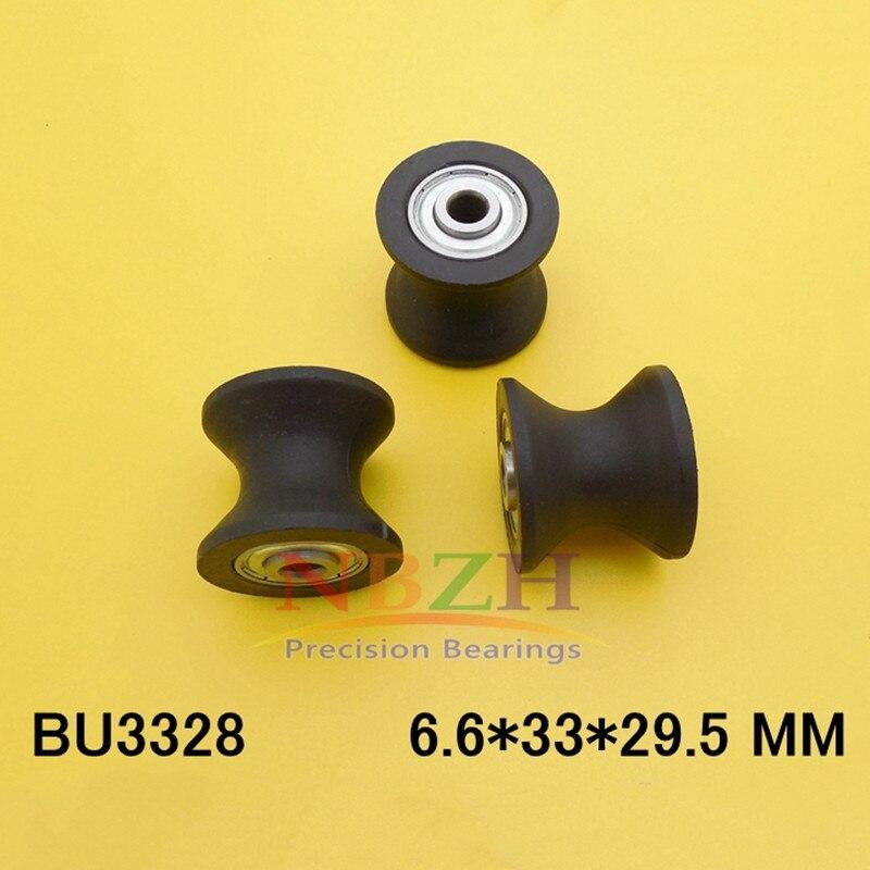 2 piezas 6,6x33x29,5mm BU3328 U guía de ranura polea sellada riel rodamiento de bolas de plástico