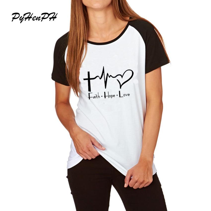 Fe esperanza amor playera cristiana divertido cristiano Dios manga raglán suelta camiseta mujer Casual manga corta Camisetas