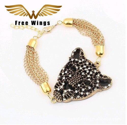 Nova moda jóias personalidade retro leopardo luxo refinado ouro pulseiras para mulher 35ds
