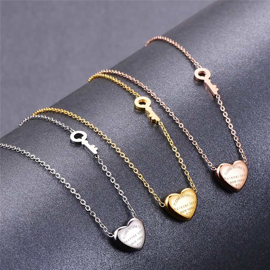 Encantador colgante collar con corazón encantador de Martick, collar de cadena de eslabones con diseño de llave dorada rosa, letras de amor para siempre para mujer P3