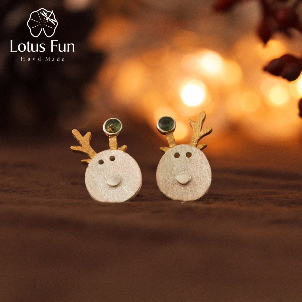 Lotus Fun Real 925 Plata de Ley turmalina Natural joyería fina hecha a mano regalos de navidad bonitos pendientes de perno de Reno mejor regalo