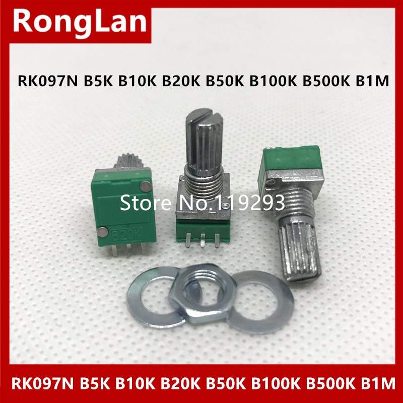 [Bella] único potenciômetro rk097n b5k b10k b20k b50k b100k b500k b1m amplificador de potência de áudio potenciômetro selado 3 pés -- 50 pces