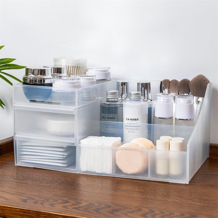 Plastic Makeup Organizer Two-Layers Jewelry Box Cosmetic Organizer Makeup Box Lipstick Makeup Storage Bathroom Table Organizer