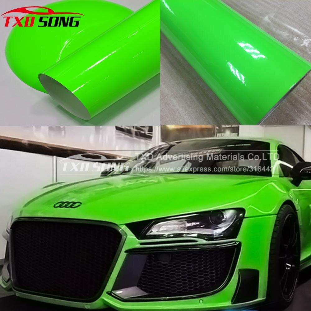 Hermosa pegatina de vinilo fluorescente verde, película de envoltura de coche verde fluorescente para envolver el coche con burbujas de aire mediante envío gratis